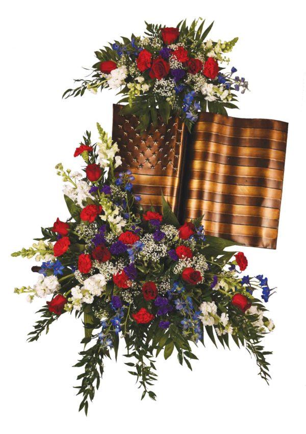 Brass American Flag Standing Easel Display