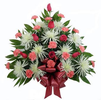 Basket B: Spider Mums, Roses, Carnations