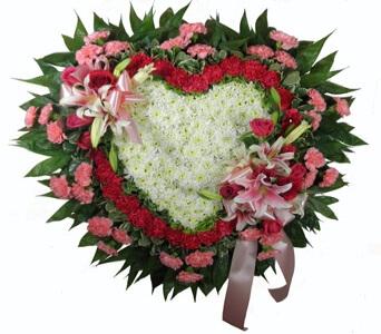 Love's Garden Deluxe Heart Funeral Flowers