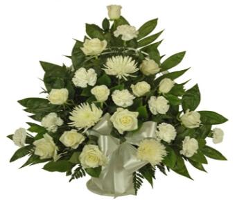 Simple Devotion Sympathy Basket Funeral Flowers